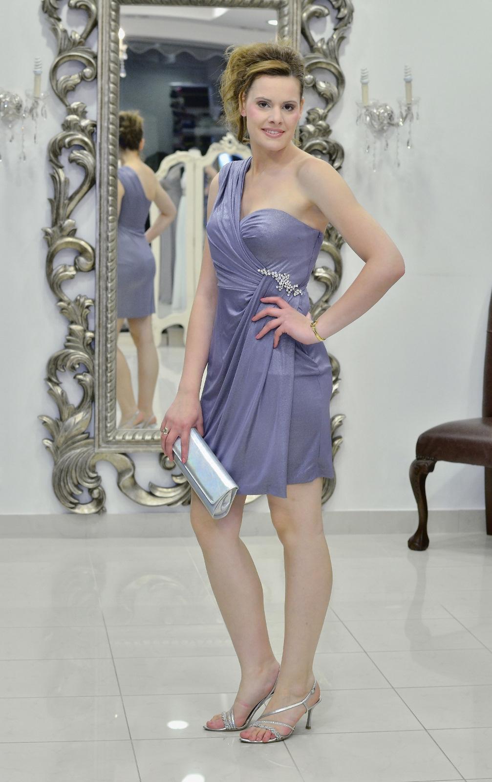 Βραδυνό φόρεμα ελαστικό μεταλλιζέ ζέρσεϊ