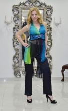 Τοπ μεταξωτή μουσελίνα-παντελόνι ελαστικό σατέν