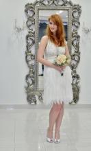 Νυφικό φόρεμα φτερά-πέρλες