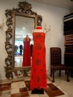 Βραδυνό φόρεμα μεταξωτό τούλι με χάντρες