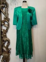 Βραδυνό φόρεμα δαντέλα-ζακετάκι σατέν