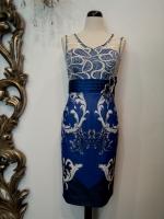 Βραδυνό φόρεμα δαντέλα-εμπριμέ μουσελίνα